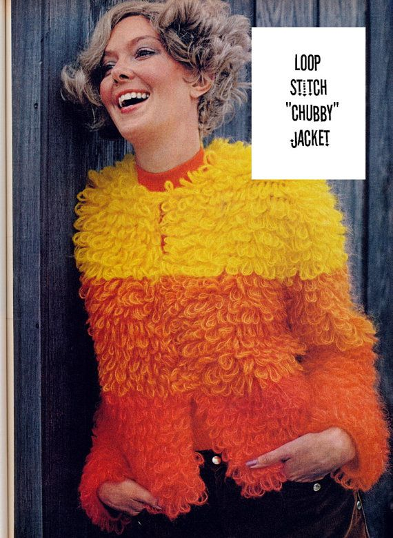 Mod Cardigan Loop Stitch Fake Fur 1970\'s Jacket: vintage pattern for ...