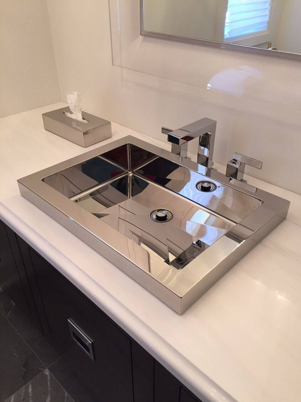 Awesome Cantrio Stainless Steel Rectangle Drop In Bathroom Sink MS 023