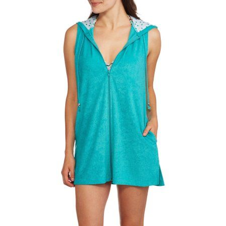 16d92f86c5b0d Catalina Women's Zip-Front Hooded Terry Swim Cover-Up, Size: Small, Blue