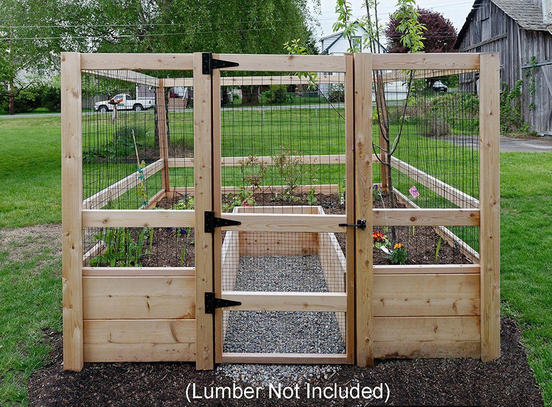 Raised Garden Bed Kit Planter 8' x 8' Fence Gate Hardware