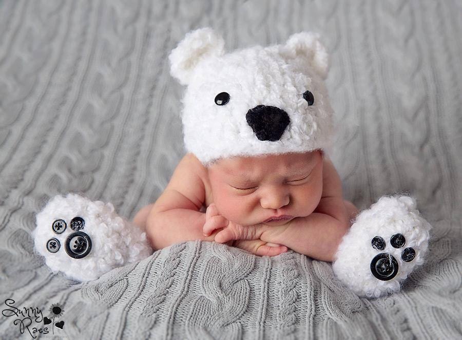 Newborn Baby Crochet Furry Fluffy Polar Bear by