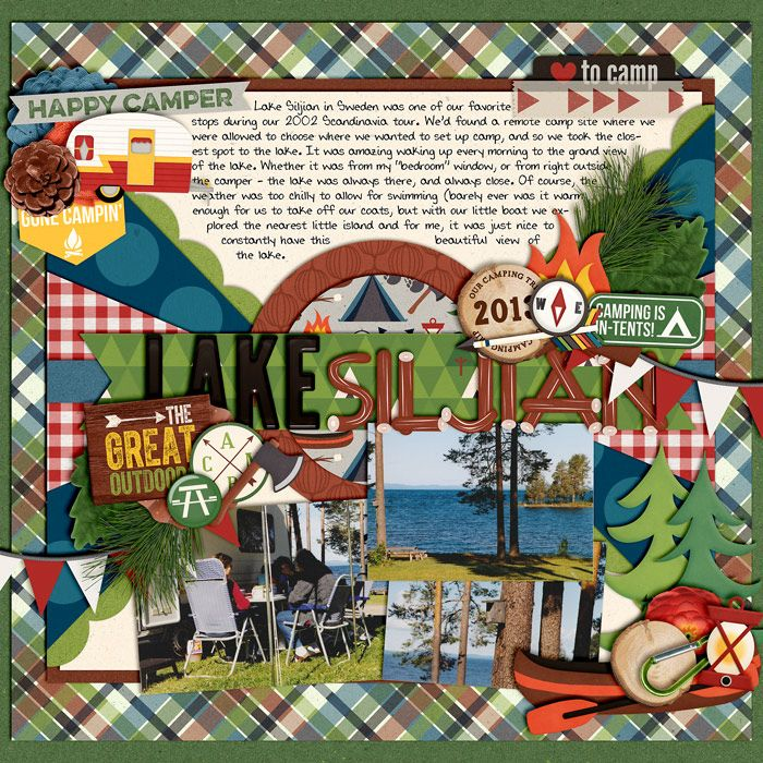 A Happy Family - Gone Camping by Traci Reed & Shawna Clingerman Template from Set 173 (Journaling) - modified, by Cindy Schneider (added ph...