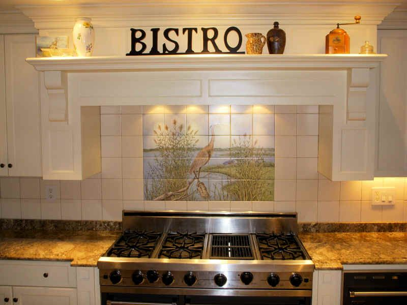 Great Blue Heron Tile Mural For Kitchen Backsplash Kitchen Tile Mural Tile Murals Backsplash Mural