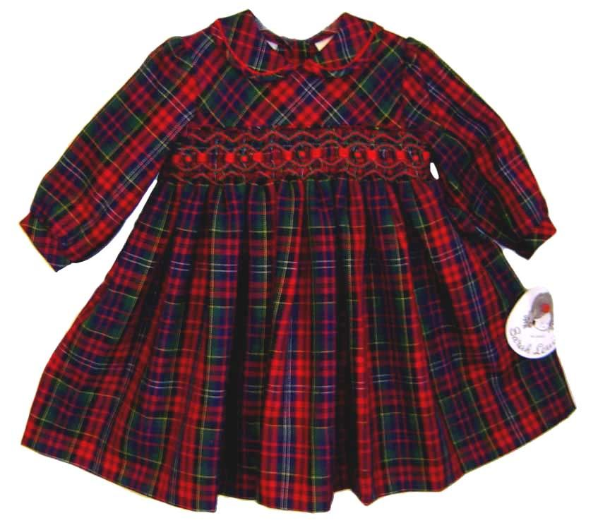 e6a5b383040 NEW Sarah Louise Red Plaid Smocked Dress with Red Velvet Ribbon Insertion   80.00