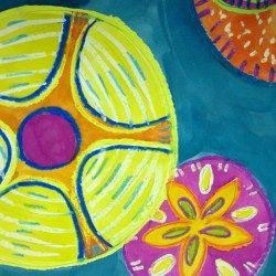 sand dollar pattern watercolor resist lesson watercolor art