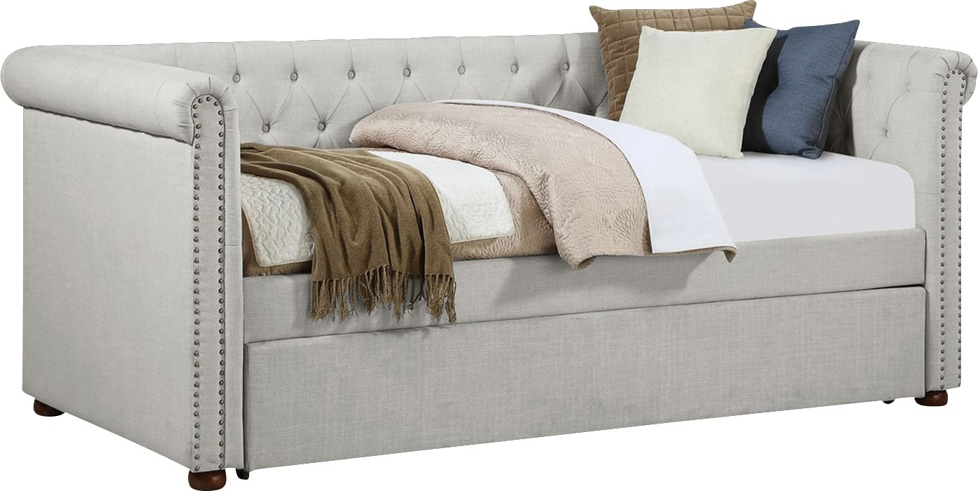 Fannin Beige Daybed With Trundle Daybed With Trundle Rooms To Go Furniture Daybed Daybeds with mattress for sale