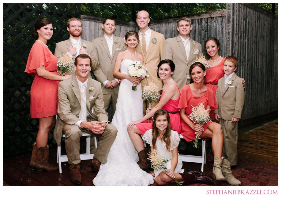 Khaki Suits + Coral Bridesmaids & Boots  Courtesy of Stephanie Brazzle Photography Austin and Dallas Wedding Planner Altar Ego Weddings