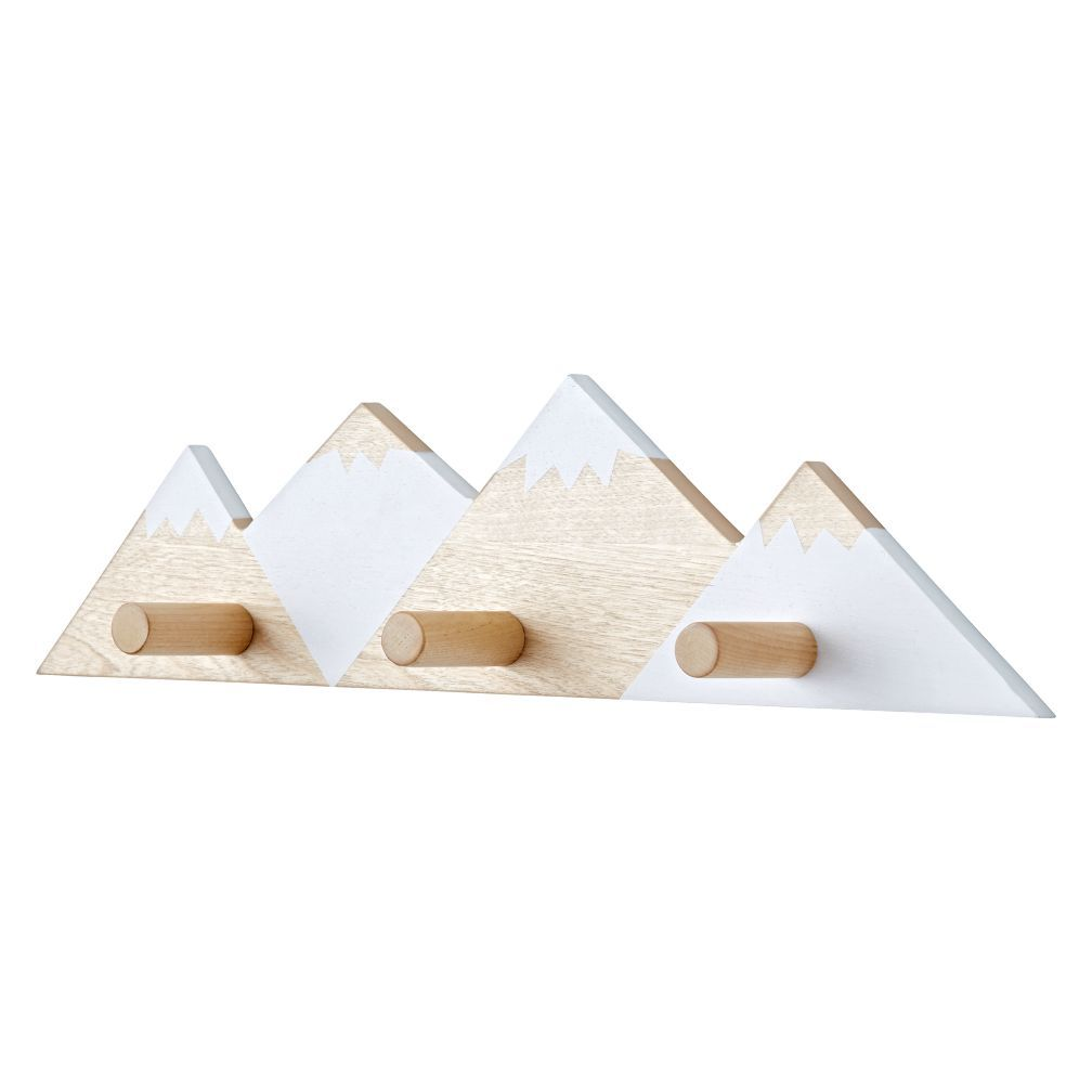 Shop Mountain Range Decorative Wall Hook.  Mountain range wall hook has three pegs to hold jackets, backpacks and more, while also providing a bit of beautiful outdoor scenery.