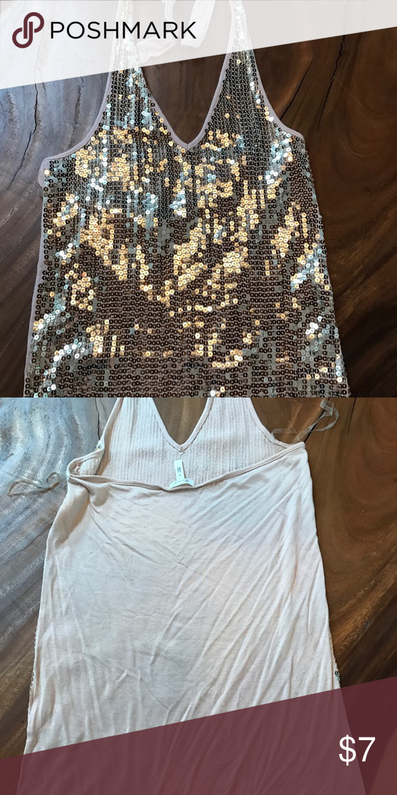 Halter Sequin Top Very cute halter. Sequins on the front, t-shirt feel on the back. Flounce Tops Tank Tops