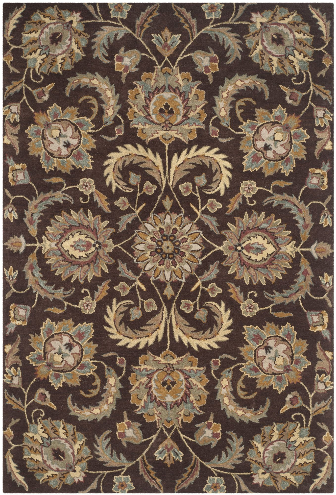 Tressler Handmade Tufted Wool Brown Gold Area Rug Rugs Gold Rug Traditional Rugs