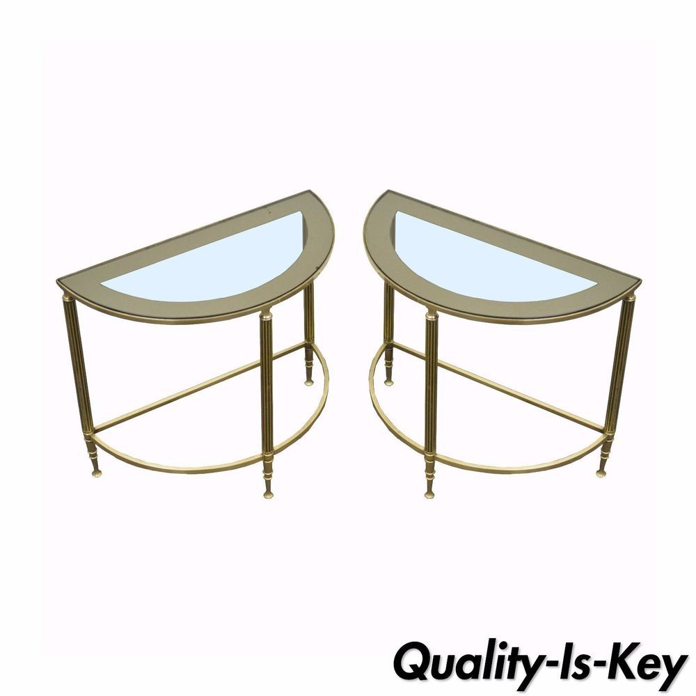 Pair Vintage Hollywood Regency Small Brass Demilune Side ...