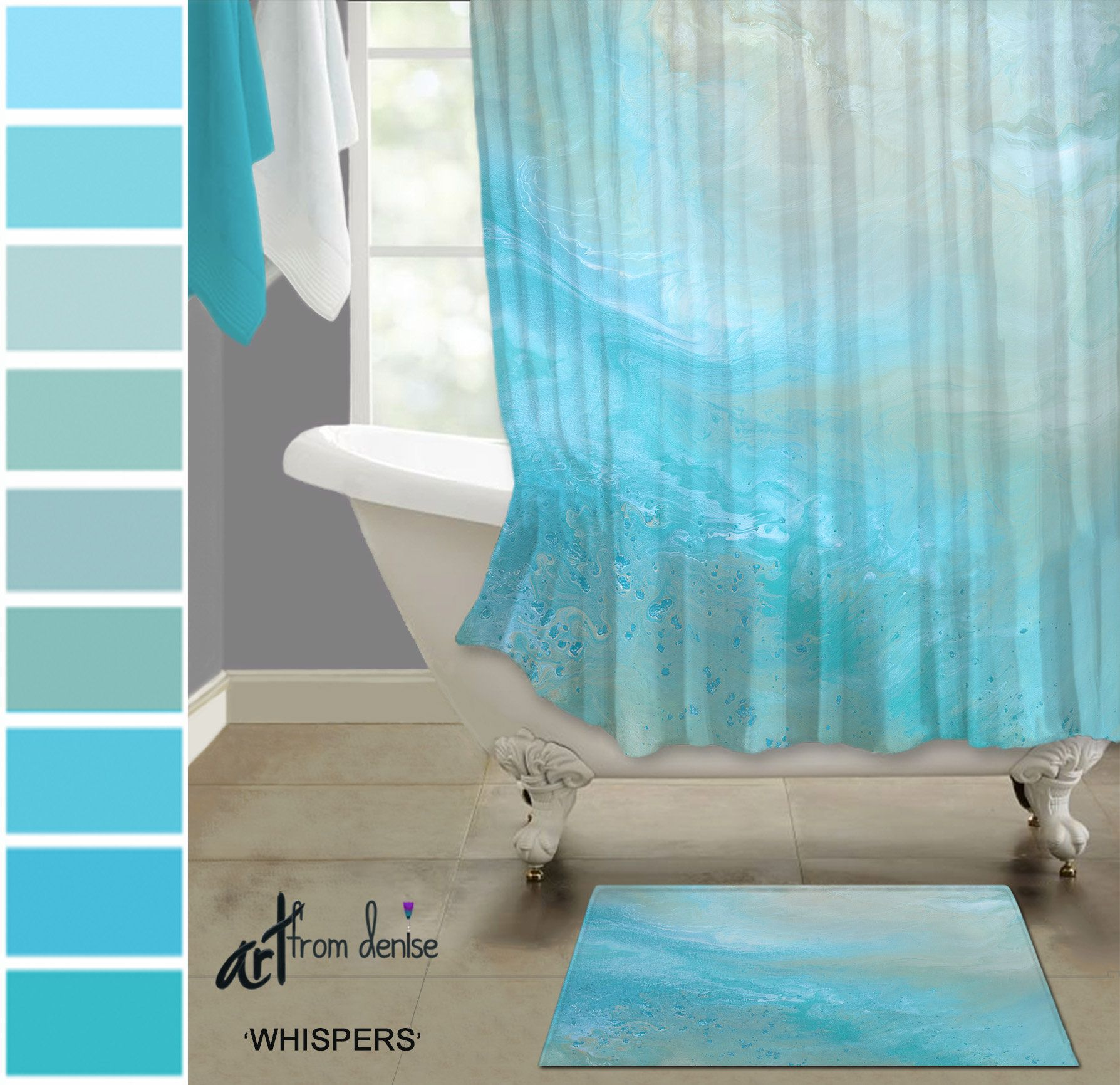 Teal Blue Fabric Shower Curtain Bath Rug Sets Aqua And Tan Etsy