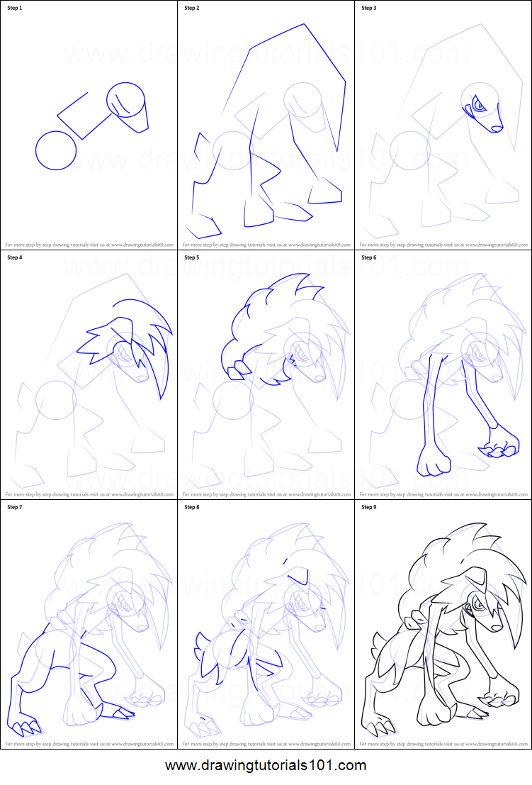 How To Draw Lycanroc : lycanroc, Lycanroc, Midnight, Pokemon, Printable, Drawing, Sheet, DrawingTutorial…, Drawings,, Sketch