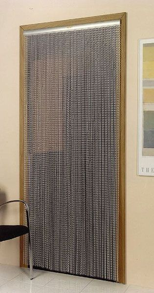 Mesh chain metal doorway curtain fly screens fly for Fly curtains for french doors