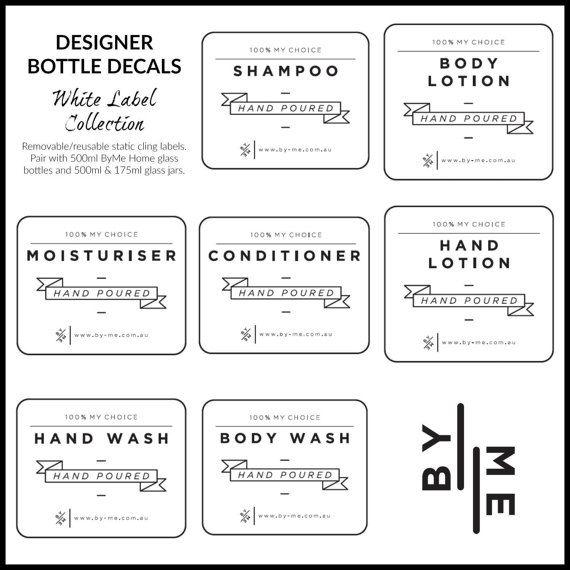 Designer bottle labels Large White label collection decals
