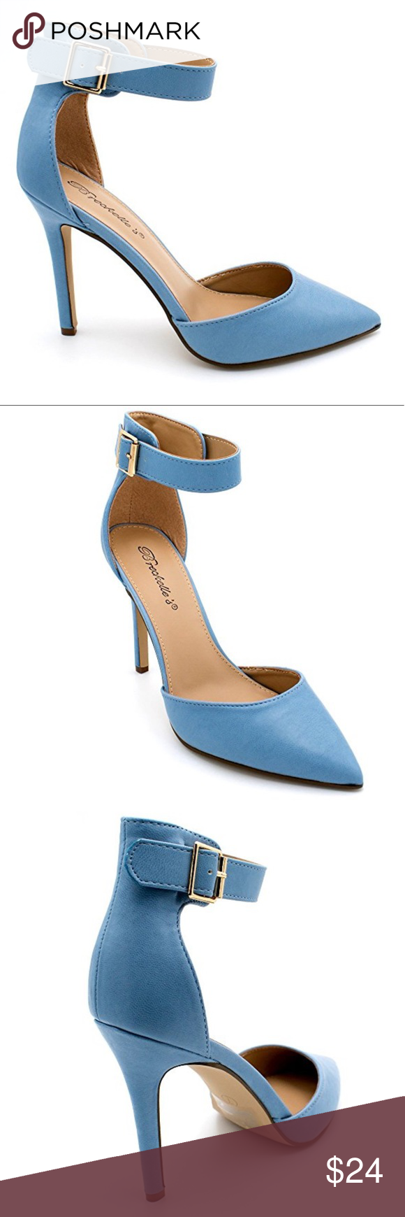 1046e0c2bb16 Light Blue Ankle Strap Pump Heels The perfect work to play d orsay is  finally here for all your outfit needs. Pairs perfectly with your trendy  looks.