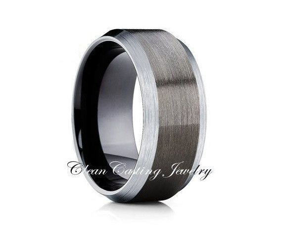 Brushed Tungsten With Brushed Edges Gunmetal Comfort Fit