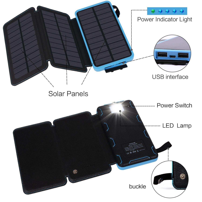 talabox 15000mah portable black led capacity dispaly solar charger