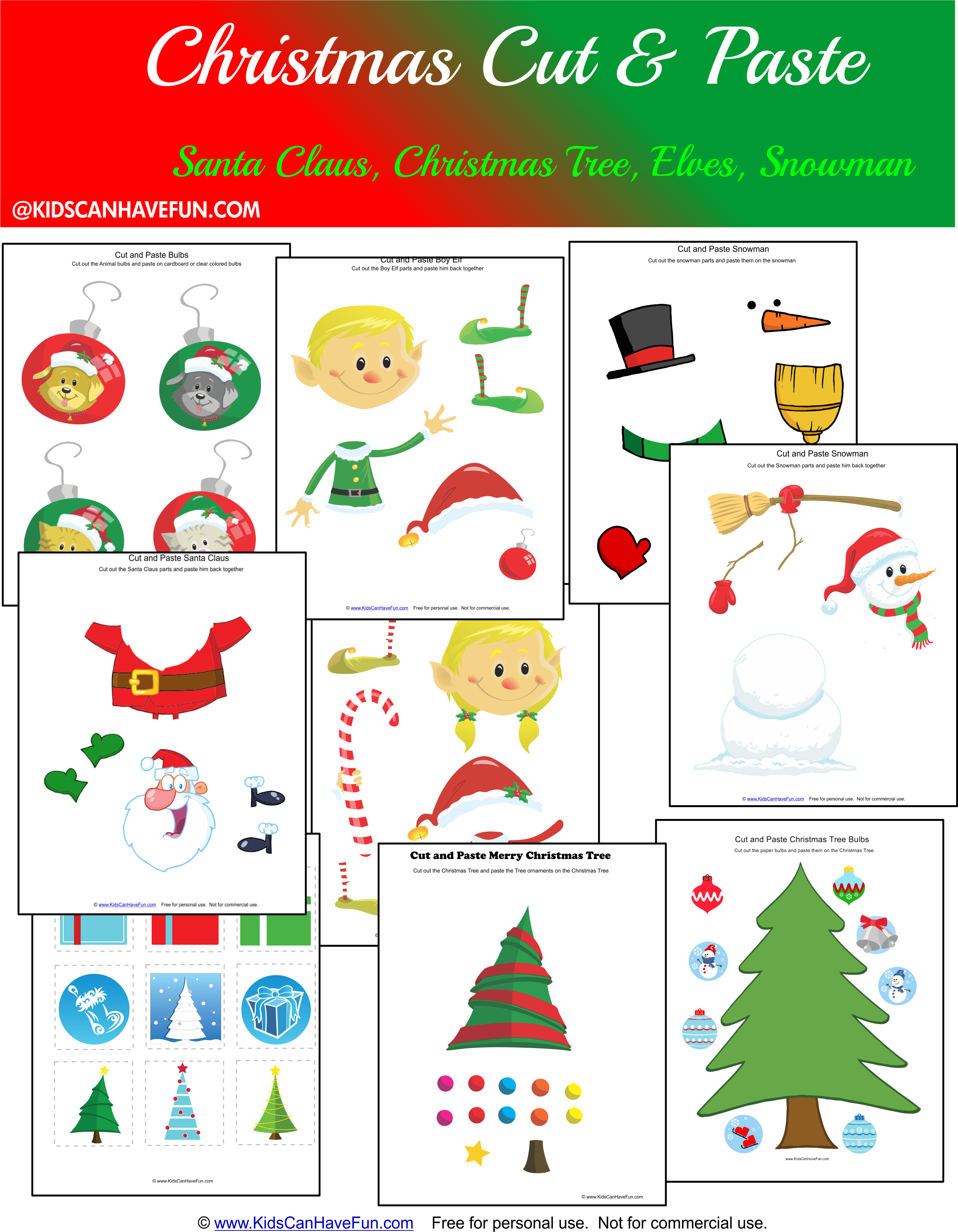 Free Christmas Cut and Paste Worksheets for the holidays http://www ...