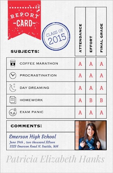 Fun Report Card Graduation Announcement by InviteShopcom