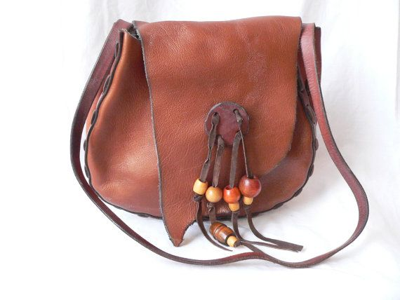 Beaded Leather HIPPIE BOHO PURSE by HousewifeVintage on Etsy, $49.00
