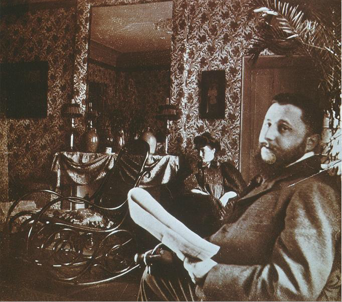 Edouard Vuillard Misia and Thadee Natanson 1900 Albumen print This photograph is great for comparing it to Vuillard's interior paintings. The first noticeable aspect it has in common with many of his paintings is the patterned wall paper. The viewer can get a glimpse of the world of pattern that the artist lived in. The empty rocking chair can be seen in a few of Vuillard's interiors.