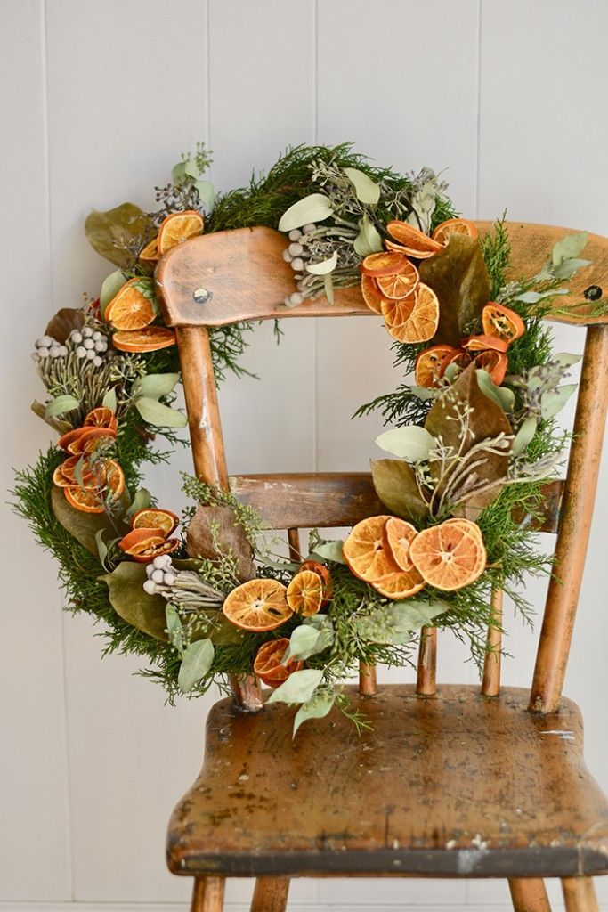 DIY Christmas Wreath with Dried Oranges and Florals - Romantic Homes