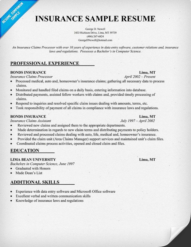 Insurance Agent Sample Resume Insurance Resume Sample Resumecompanion  Larry Paul Spradling .