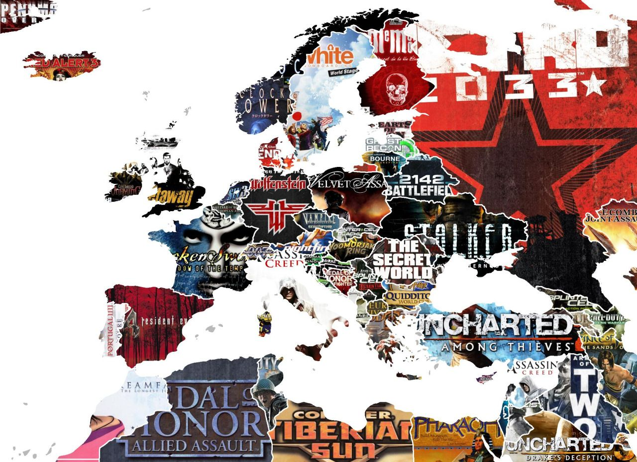 Map of europe and surrounding areas showing video games set in each map of europe and surrounding areas showing video games set in each country gumiabroncs