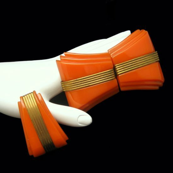 Items similar to ART DECO Carved Orange BAKELITE Vintage Belt Buckle Dress Clip Set Brass Trim on Etsy