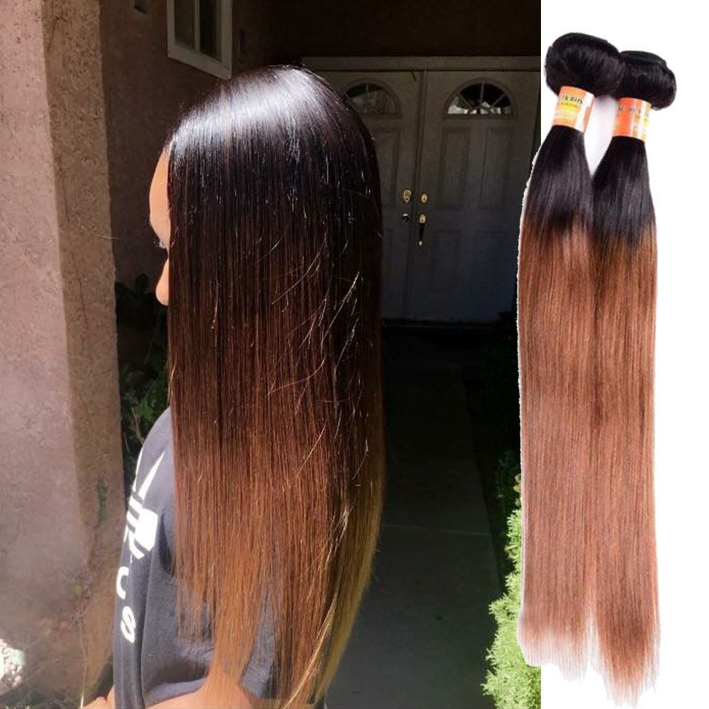 "3Bundles 12"" 300g Real Human Hair Extension 1b/30 Silky"