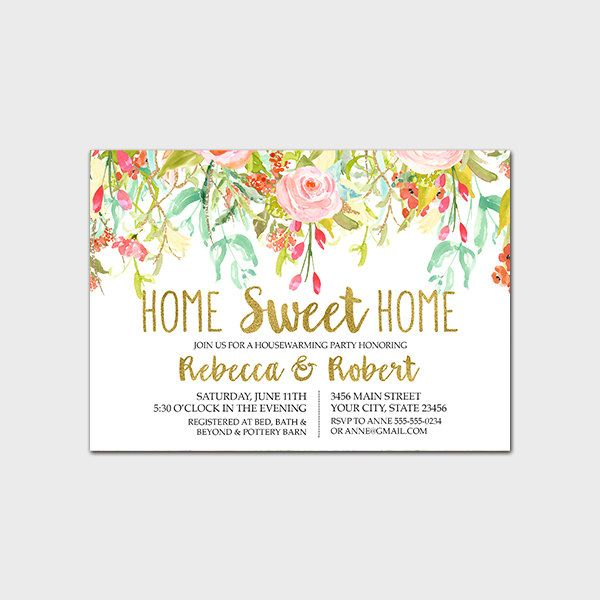 Floral Housewarming Party Invitation Printable Spring Floral - housewarming invitation template