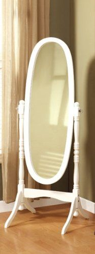 82 Shipped White Oval Standing Mirror Floor Standing Mirror