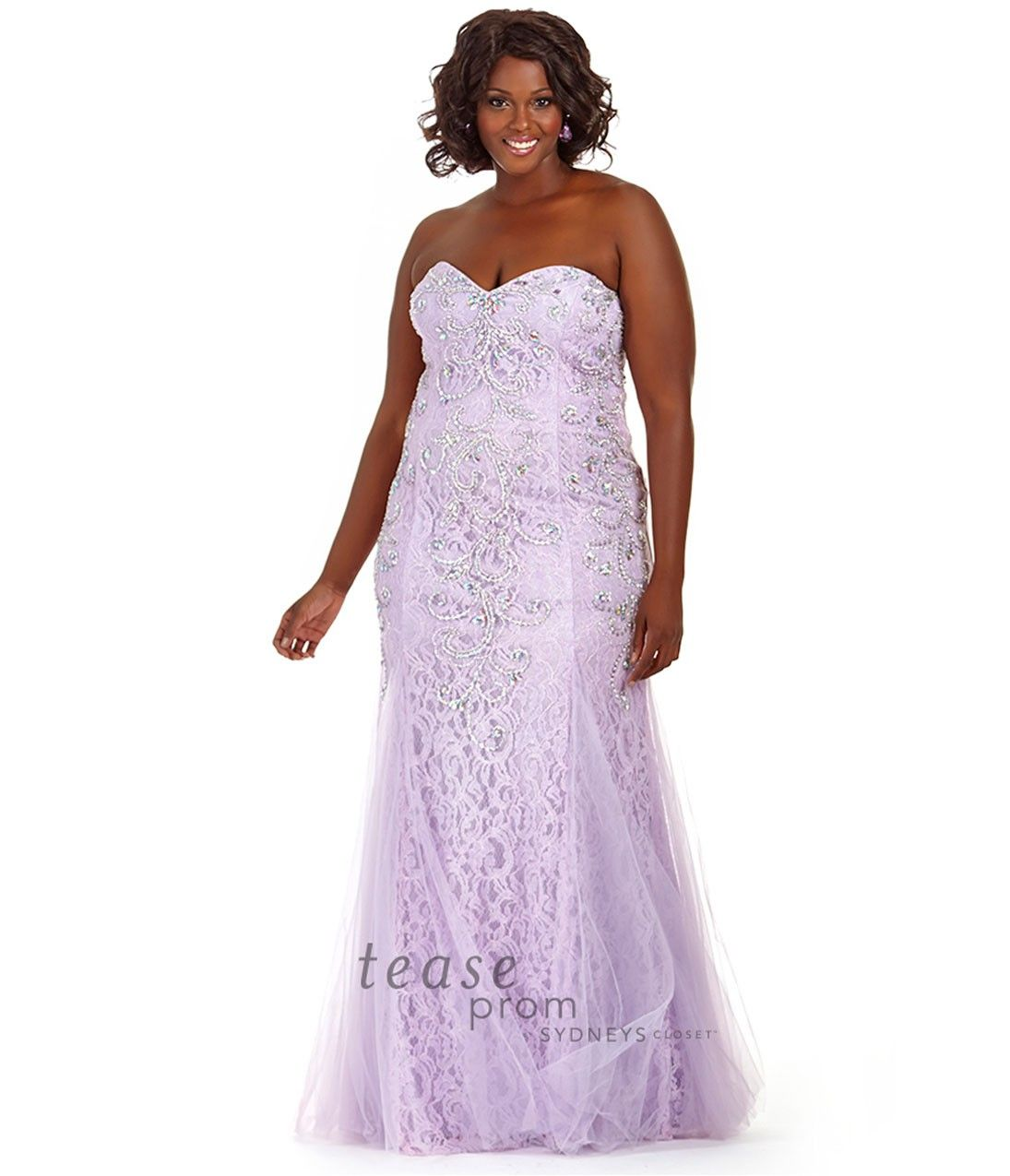 Purple strapless lace beaded plus size fitted mermaid gown prom