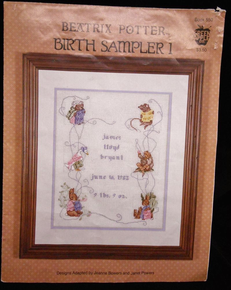 Beatrix Potter Birth Sampler I Counted Cross Stitch Pattern Vintage used #GreenApple #Sampler