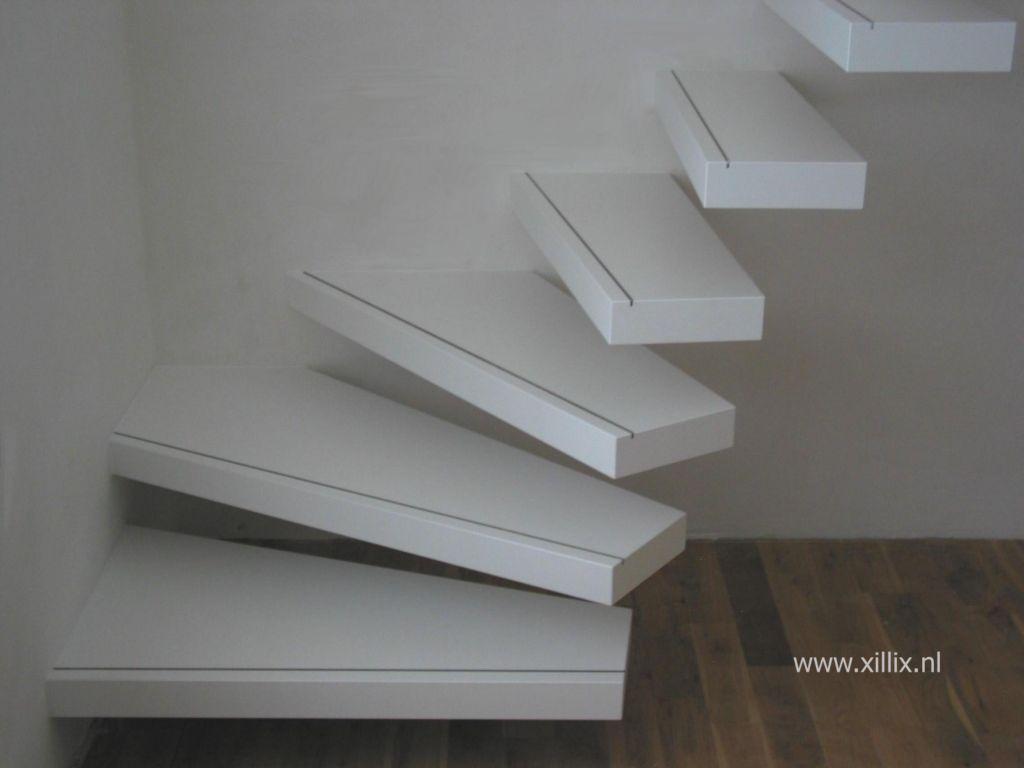 Zwevende trap wit gelakt mdf    Interieur   Pinterest   Trappen en Interieur