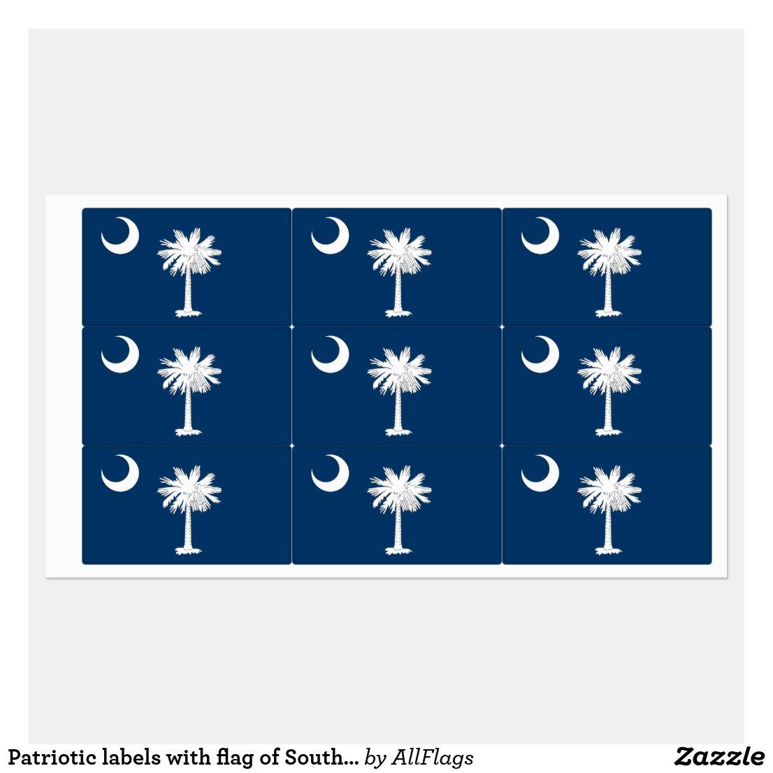 Patriotic Labels With Flag Of South Carolina State Zazzle Com South Carolina Flag Label Design Strong Adhesive