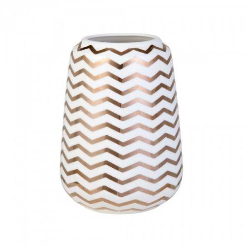 Vase fra Lene Bjerre med populært ZigZag-mønster. Farge hvit/gull. Porselen.  Størrelse: Ø12xH17 cm