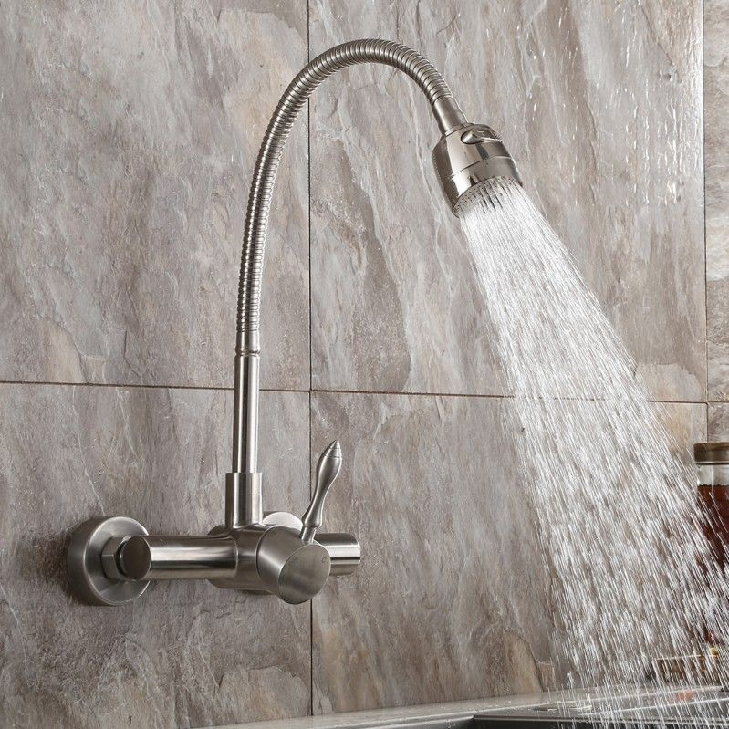 Brushed Nickel Wall Mount Stainless Steel Kitchen Faucet
