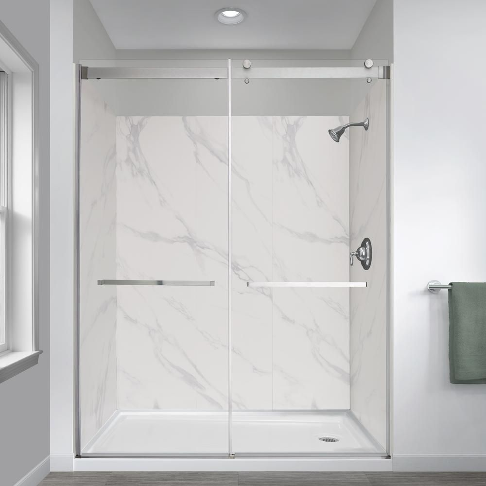 Foremost Jetcoat 32 In X 60 In X 78 In 5 Piece Easy Up Adhesive Alcove Shower Surround In Carrara White Gfs603278 Cw In 2020 Shower Surround Shower Shower Tub