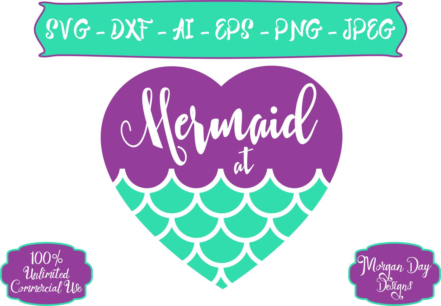 Mermaid at Heart SVG Heart SVG Mermaid SVG Mermaid