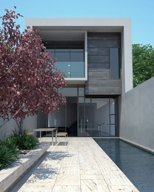 2 story white and grey modern home with lap pool and wood deck