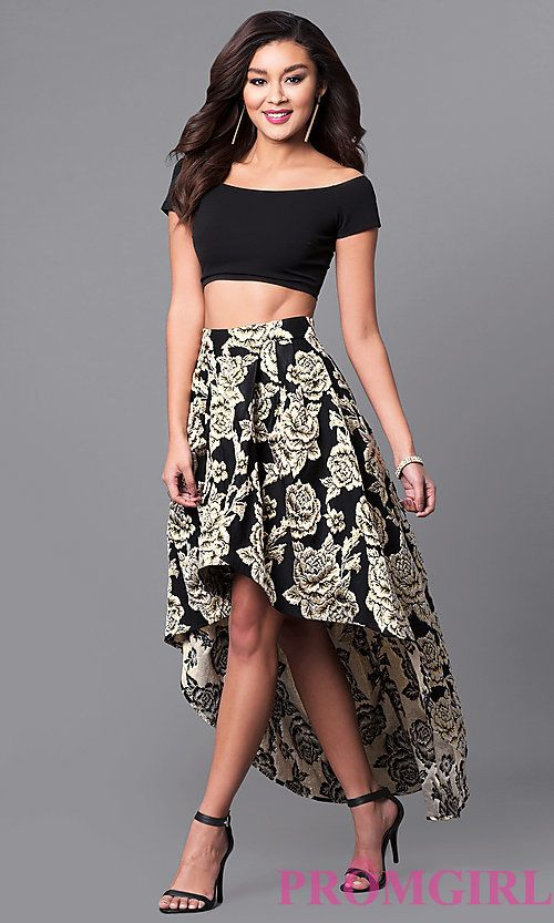 Black And Gold Print High Low Two Piece Prom Dress Fancy Schmancy