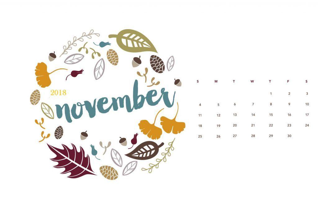 November 2018 Desktop Wallpaper Calendar