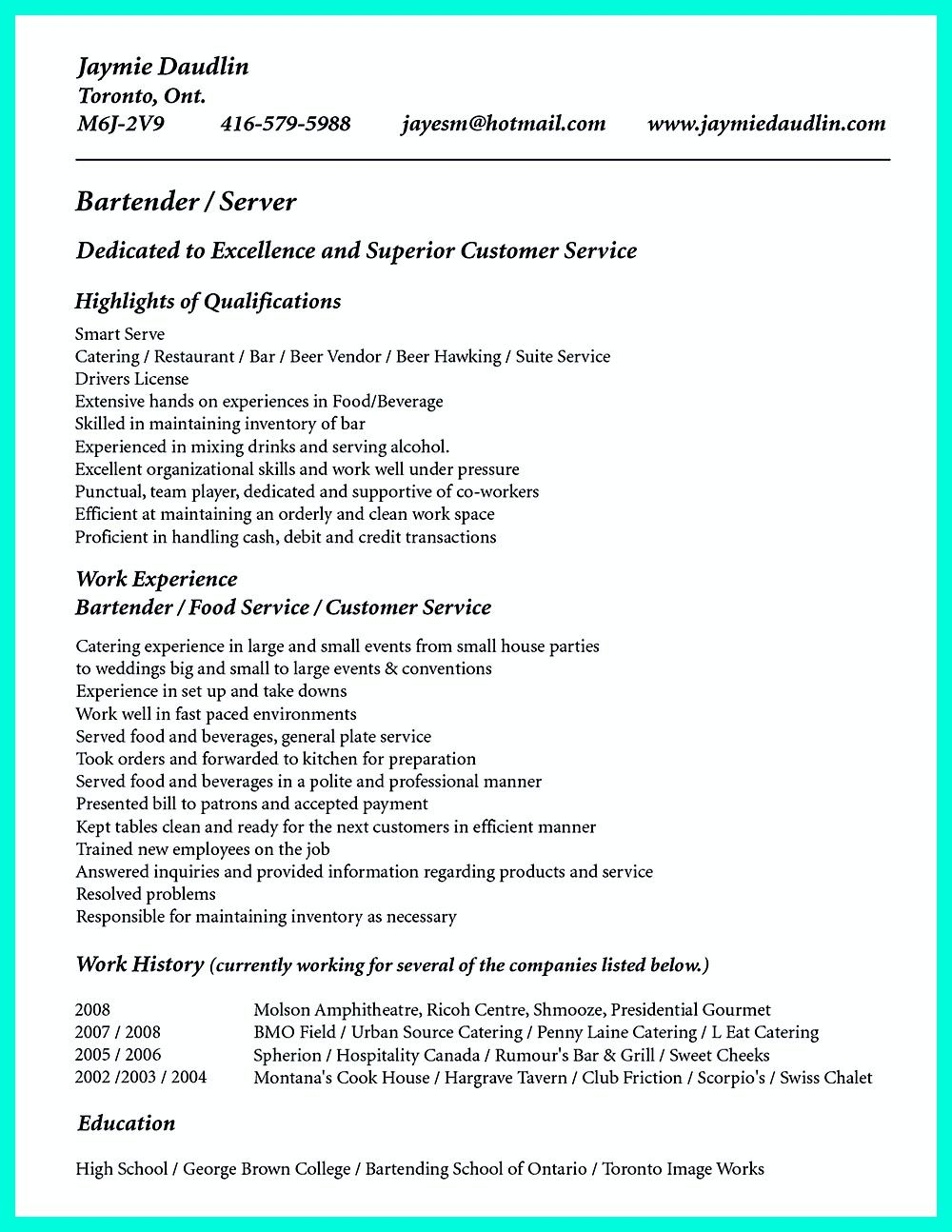 Cocktail Server Resume Skills To Convince Restaurants Or Cafe Resume Skills Job Resume Samples Resume Examples