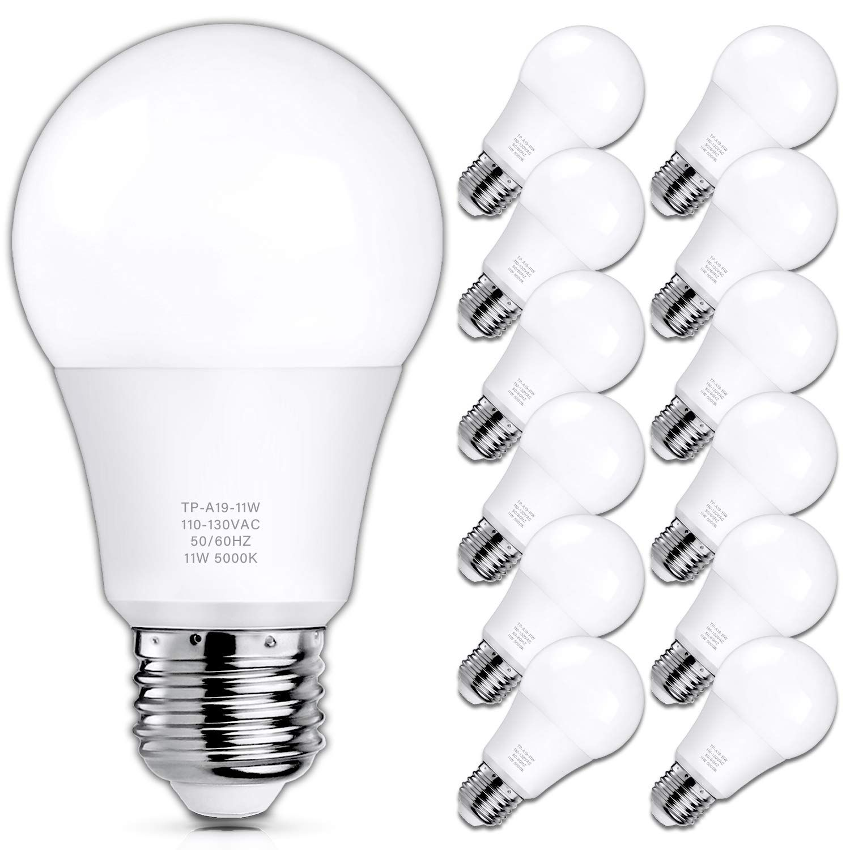 A19 Led Light Bulbs 100 Watt Equivalent Led Bulbs 5000k Daylight White 1100 Lumens Standard E26 Medium Screw Base In 2020 Led Bulb Led Light Bulbs Led Lights
