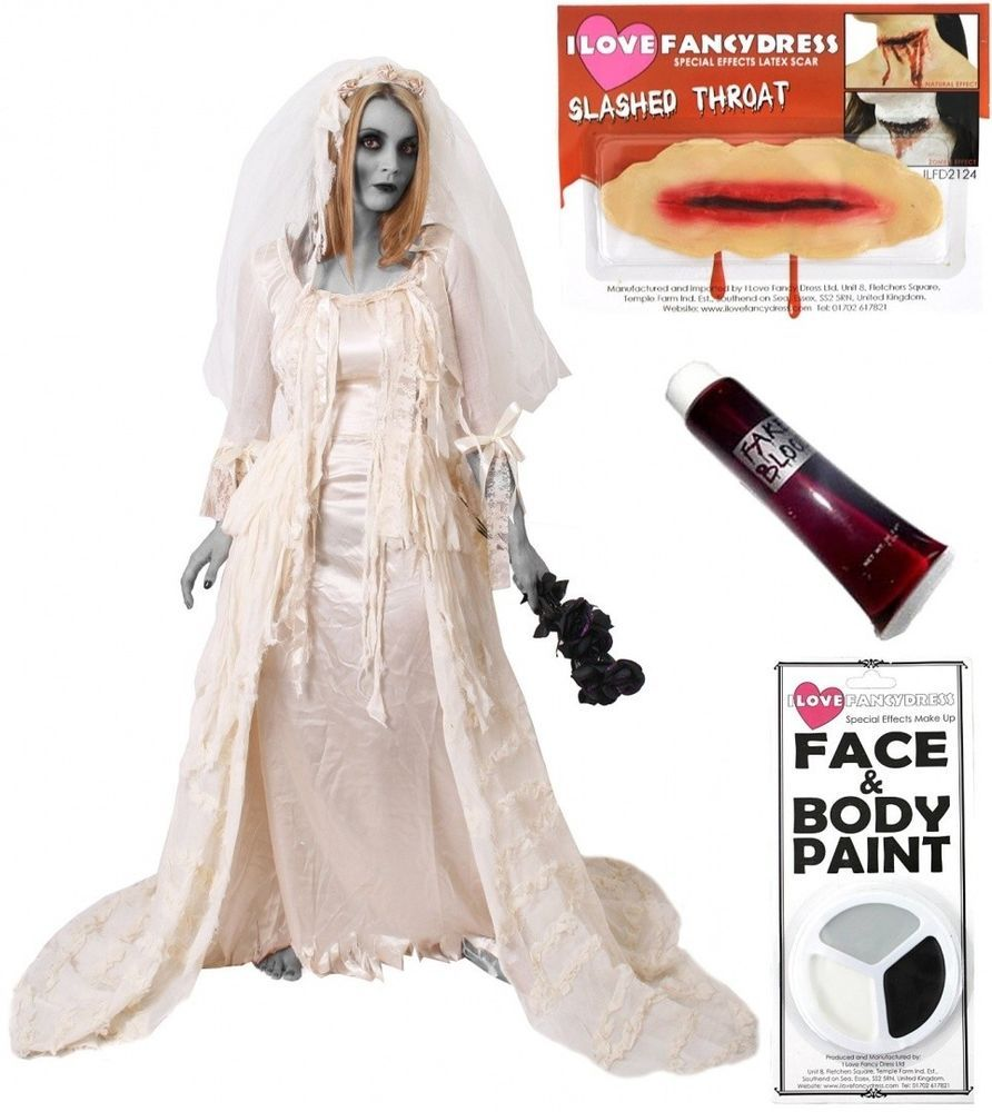 Extra large cut throat heartbroken bride halloween wedding dress