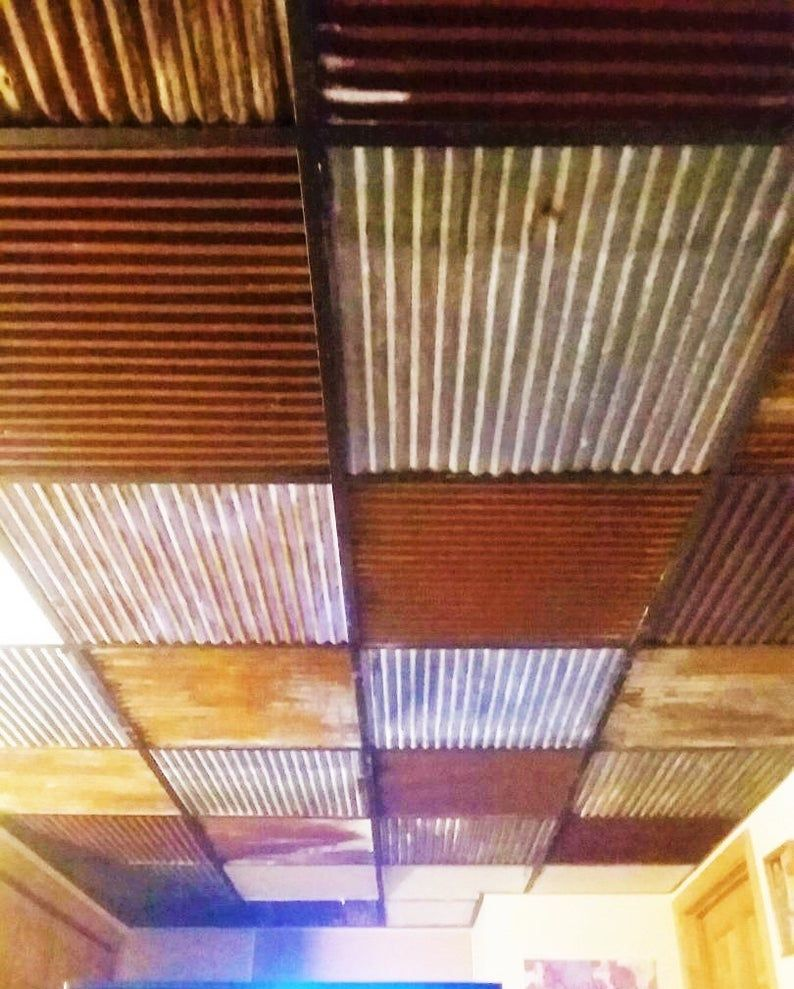 10 Pieces Of Antique Drop Ceiling Tiles Reclaimed From Vintage Corrugated Metal Barn Tin In 2020 Drop Ceiling Tiles Dropped Ceiling Ceiling Tiles