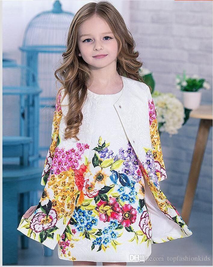 a4dae7f52 2015 Kids Clothes Brand Baby Girl Clothing Set High Quality Baby & Kids  Floral Printed Dobby Cotton Kids Tracksuit Coat+Dress 3t 8t From  Topfashionkids, ...
