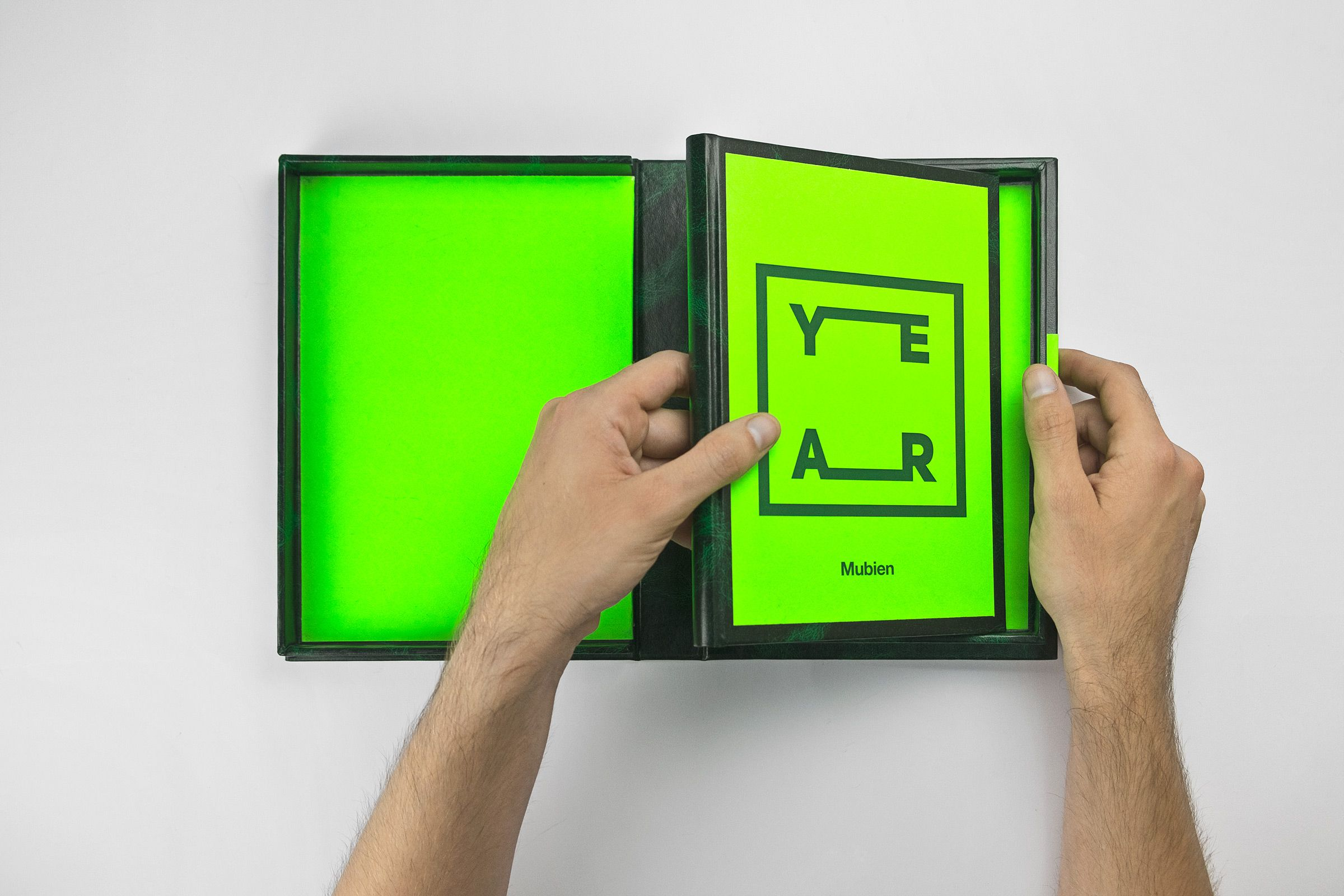 "All work was handmade in Mubien Studio (Santander). We use a combination of neon green and ""Valencia Green"" for Mubien One Year..."